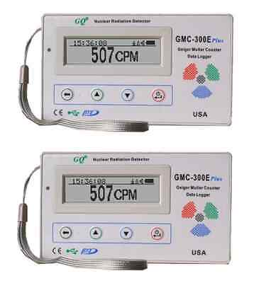 Two Gq Gmc 300E  V4 Nuclear Radiation Detector Data Logger Beta Gamma Detection