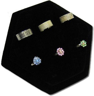 7lx6w 14 Clip Black Velvet Hexagon Shape Ring Jewelry Display Stand Case Rd47