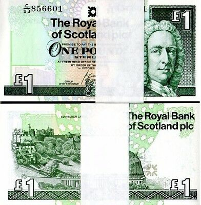 100 BRAND NEW UNCIRCULATED Crisp Scottish One Pound £1 Notes Consecutive Numbers