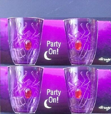 HALLOWEEN HEAVY PLASTIC SHOT GLASSES SET PURPLE SPIDER SHOTS LOT 4 =2 PACKS of 2