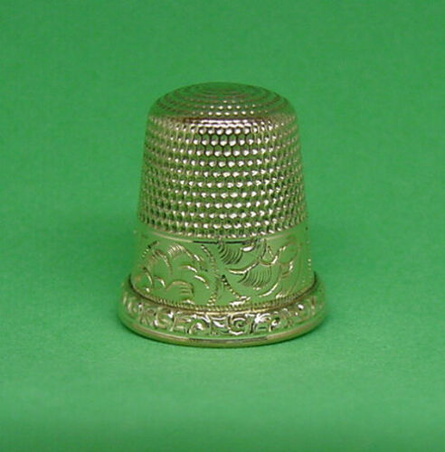 FANCY ANTIQUE GOLD FILLED THIMBLE C.1890S WAITE, THRESHER CO. SIZE 9