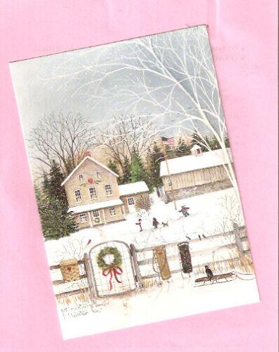 Border Terrier Cat Children Snow Snowman Wreath Christmas Cards Box of 20*