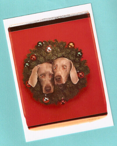 Weimaraner Weim Wegman Christmas Cards Pack of 12 Wreath Puppies*