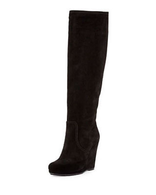 NEW PRADA CALZATURE DONNA BLACK SUEDE WEDGE KNEE HIGH BOOTS SIZE 5.5 $950