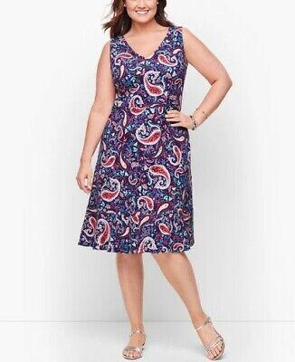 Talbots Plus Spring Summer Navy Paisley Cotton Sleeveless Dress 2X