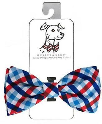 NEW Red White & Blue Picnic Check Dog Bow Tie Collar Attachment by Huxley & Kent Dog Bow Tie