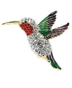 Clear Sparkling Crystals Humming Bird Pin Brooch