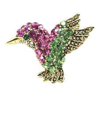 Pink and Green Crystals Baby Humming Bird Pin Brooch