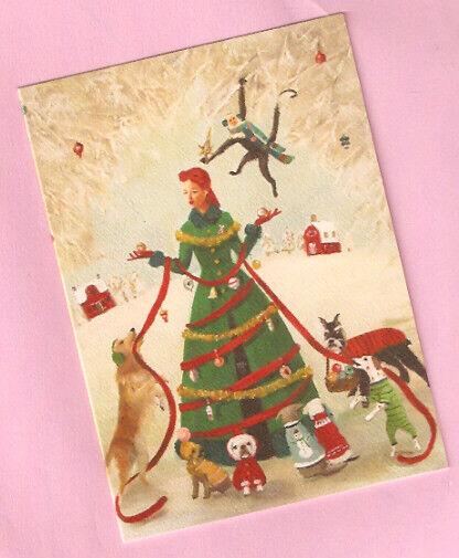 Golden Retriever Schnauzer Border Terrier Monkey Christmas Cards Box of 8