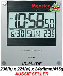 CASIO WALL CLOCK ID-11-1DF ID11 DISPLAYS TIME DATE TEMPERATURE 12 MONTH WARRANTY