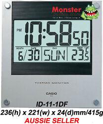 AUSTRALIAN SELLER CASIO WALL CLOCK ID-11-1DF ID11 TEMPERATURE 12 MONTH WARRANTY
