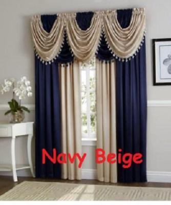 Ultra Luxurious Hyatt window curtain Panel / fringe valance Treatment new colors - Fringed Curtains