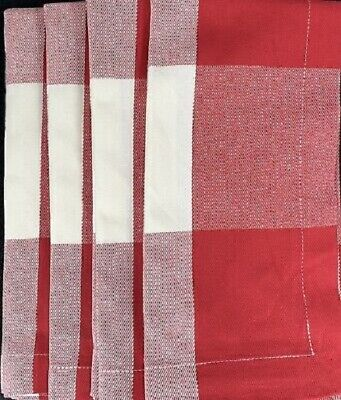 Pottery Barn Set 4 Buffalo Check Napkins Red Ivory 20 sq Fabric Cloth Farmhouse](Cloth Napkins Bulk)