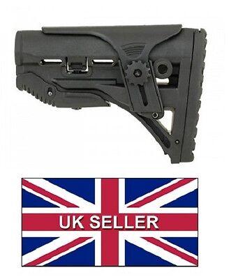 Sleek M-Series Airsoft Stock With Adjustable Cheek Rest - Black