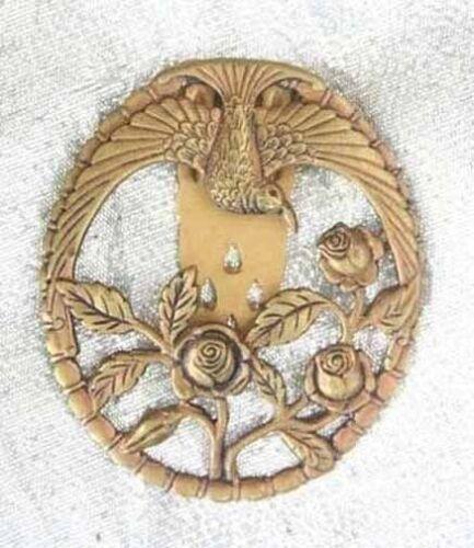 Elegant Edwardian Art Nouveau Gold-tone Dove & Flowers Dress Clip antique