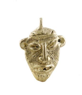 Pendant Mask Ashanti Art African Tribale Figure Brass B