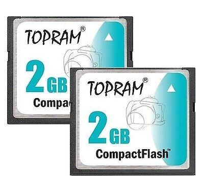 Lot 2 x TOPRAM 2GB CF 2G CF Compact Flash 100X memory card high Speed w/case 100x Compactflash Cf Memory Card