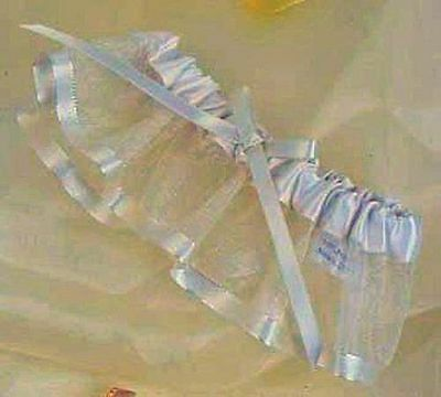 Silk Wedding Garter (Wedding Bridal Ivory Silk Ribbon & Organza Garter 7113 )