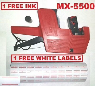 Mx-5500 8 Digits Red Price Tag Gun 5000 White With Red Lines Label 1 Ink