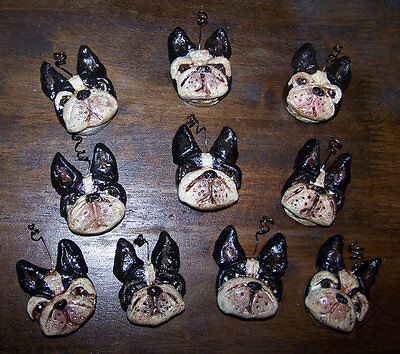 Folk Art Bakers Clay Boston Terrier Dog Ornaments  Feather Tree  Miniature