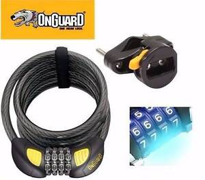 ONGUARD BIKE LOCK DOBERMAN COIL COMBO 185CM x 12MM GLOW LED East Perth Perth City Area Preview