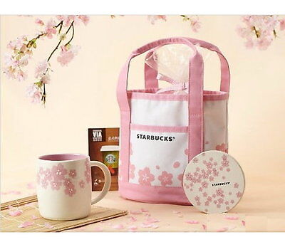 [Starbucks Coffee] Mini Sakura Canvas Tote Lunch Bag(18x26x12 cm)~ Free Shipping