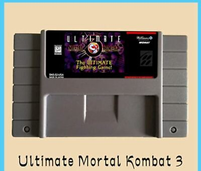 Ultimate Mortal Kombat 3 16 bit Big Gray Game Card USA NTSC Player SNES Nintendo comprar usado  Enviando para Brazil