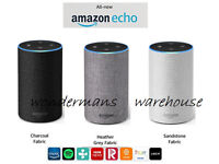 Amazon Echo (2nd generation), Charcoal Fabric/Sandstone/Heather Grey - Brand New & Unopened