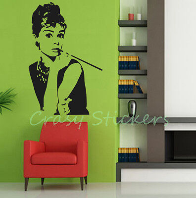 AUDREY HEPBURN Silhouette Wall Vinyl Stickers Art Decal Reusable & Removable AH1 on Rummage