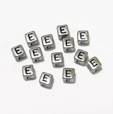 6mm Silver Metallic Alphabet Beads Black Letter