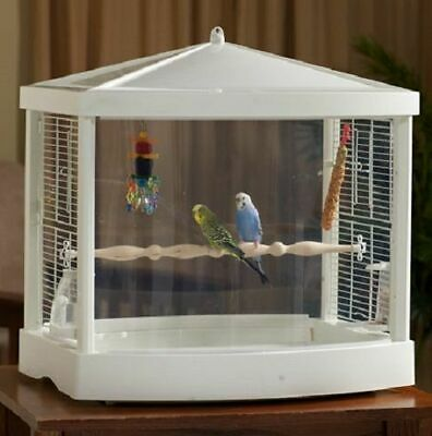 Treetop White Clear View Bird Cage Habitat Finches Canaries Parakeets Lovebirds