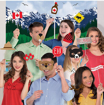 CANADA DAY Scene Setter Party backdrop w/13 photo booth props Canadian mountains