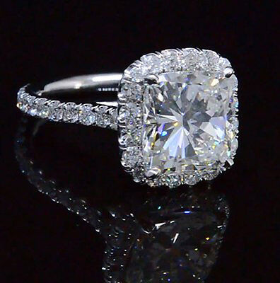 Halo Design 3.45 Ct Cushion Cut Diamond Engagement Ring G,VS2 GIA Platinum 950 2