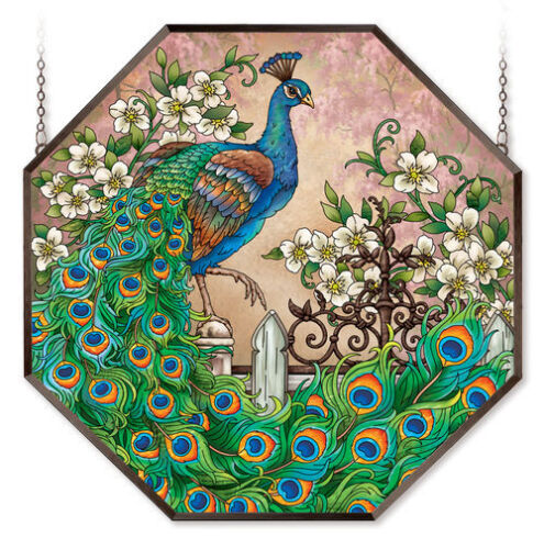 "MAJESTIC PEACOCK * JEWEL OF THE GARDEN MAGNOLIAS 22"" STAINED GLASS WINDOW PANEL"