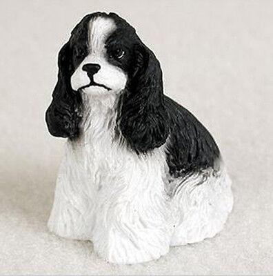 (COCKER SPANIEL BLACK/WHITE TINY ONES DOG Figurine Statue Pet Gift Resin)