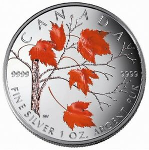 2004 FINE SILVER 5 DOLLAR COIN - COLOURED MAPLE LEAF: WINTER