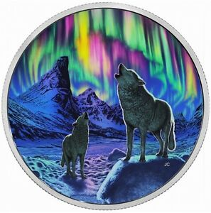 2016 NORTHERN LIGHTS GLOW IN THE DARK WOLF COIN West Island Greater Montréal image 1