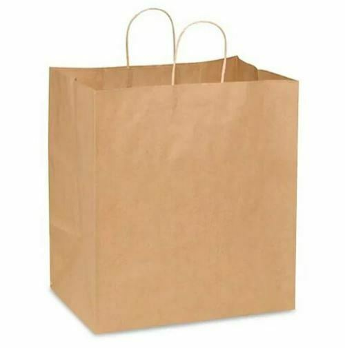 """14x10x15"""" Eden Rope Handle Paper Shopping Bags, Natural Kraft (200/Case)"""
