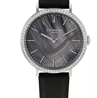 NWT Authentic LK Bennett LK2001 Black Leather Strap Women's Watch