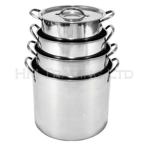 Kitchen Art 24cm: Steel Deep Stock Soup Pot Saucepan Cooking Stew Catering