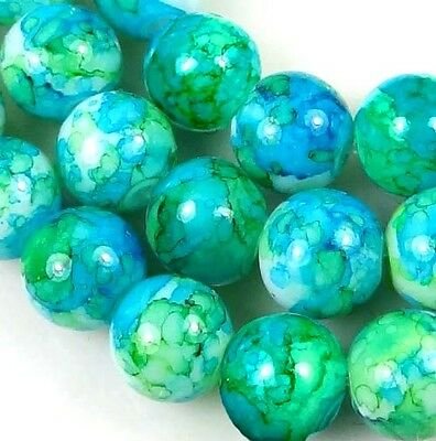 8mm Baking Varnish Glass Round Beads - Blue w/ green 15.5""