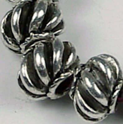 12 Silver Pewter Melon Space 7x5mm Beads ~ Lead-Free ~