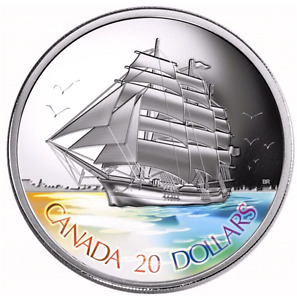 2005 FINE SILVER $20 COIN - TALL SHIPS SERIES: THREE-MASTED SHIP
