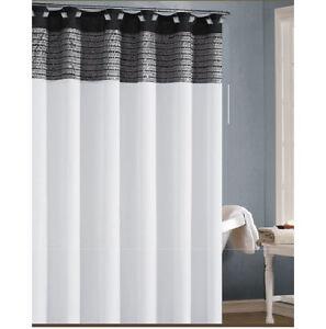 black and grey shower curtain ebay. Black Bedroom Furniture Sets. Home Design Ideas