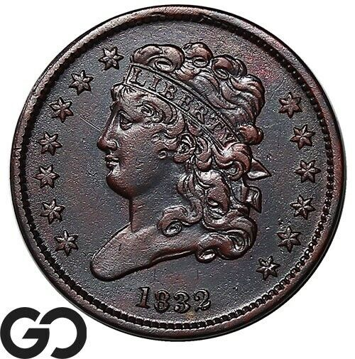 1832 Half Cent, Classic Head, XF/AU Early Collector Copper