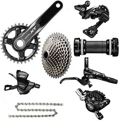 SHIMANO XT M8000 1x11 Speed MTB Group Set 11-46T W/Brake Set Ice-Tech Fin 7 Pcs