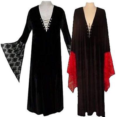 Sexy Black Velvety Lace-Up Dress w/ Lace Sleeves Witch Vampiress Costume 0x - Black Lace Kleid Kostüm