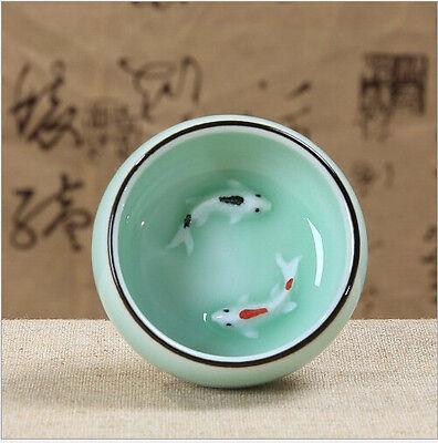 1pcs longquan celadon handmade color carp ceramic Kungfu teacup tea cup