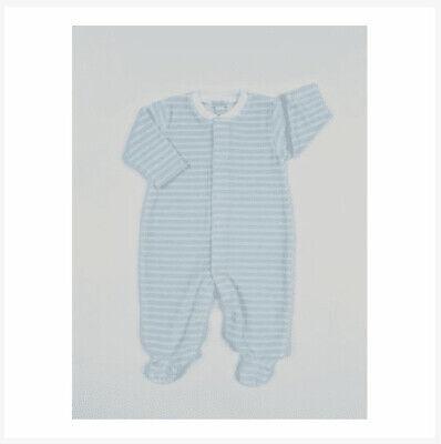 Kissy Kissy Blue VELOUR Stripe Footie Newborn New with Tags