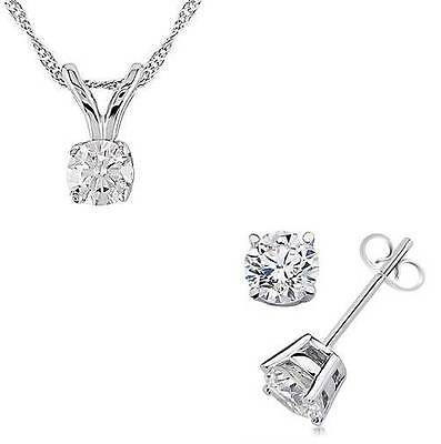 1.25ct 14k Solid White Gold Round Cut Solitaire Pendant Necklace & Stud earrings